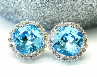 Blue Stud Earrings Large Studs Swarovski Stud Earrings Bridal Earrings Wedding Earrings Bridesmaid Gifts Blue Earrings Post Earrings AQ50S