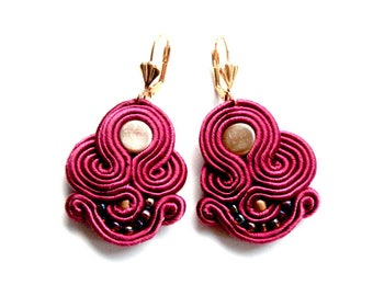 Earrings-soutache-boho-ethnic-OOAK Marsala&Gold