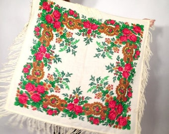SALE Vintage White Floral Russian Babushka Scarf With Tassels