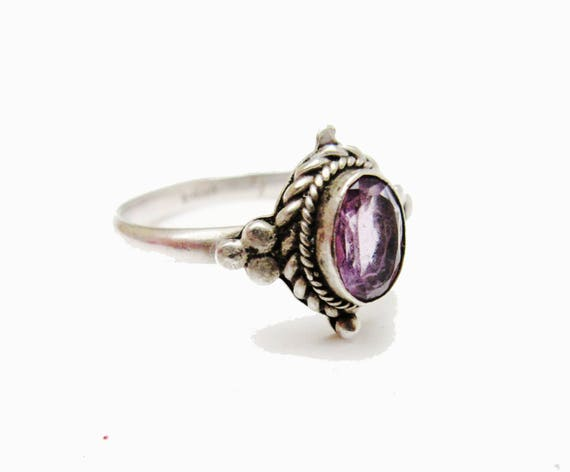 Sterling Amethyst Ring - Purple  Gemstone Beveled   twisted silver Setting  - size 7