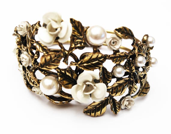 Flower clamper Bracelet - Gold repouse - white pearls,enamel flowers - wide Hinged bangle