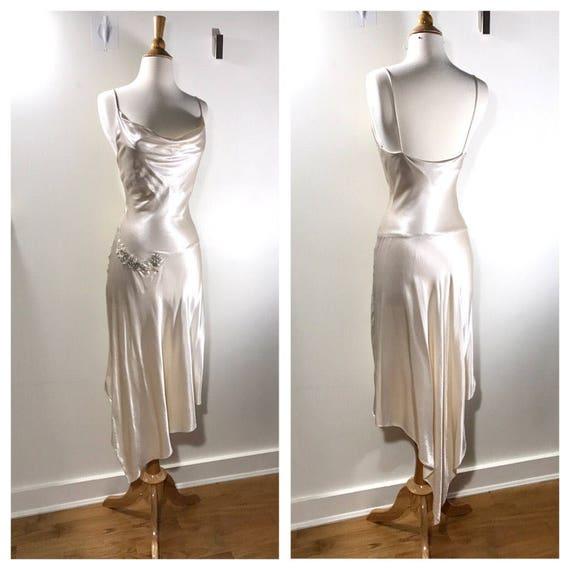 White silk slip dress simple wedding dress summer cocktail for White silk slip wedding dress