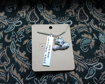 """Hand Stamped Necklace with Fox charm """"Conquer From Within"""""""