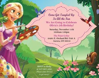 Printable Rapunzel Painting Birthday Invite