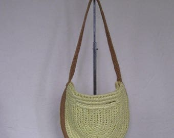 Summer Clearout 1970's Pale Yellow Slouch Shoulder Bag// Raffia// Jute