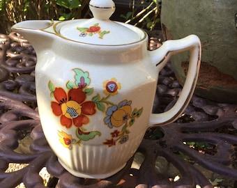 Vintage Arthur Wood England Tea/Coffee Pot-Red Orange/Yellow Green Floral Design