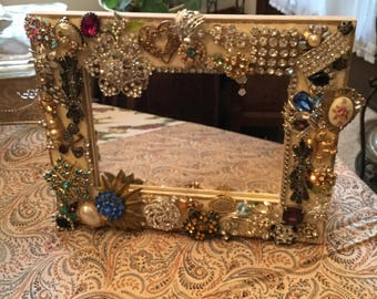 """8"""" x 10""""-Table Top/Wall Mirror-Handmade Embellished Jeweled/Jewelry/Brooch/Earring Wall Hanging Decorative Statement Piece"""