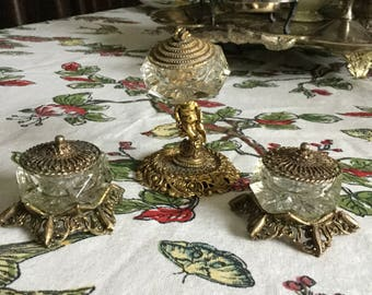 Antique Celeste Ornate Metal Cerub Master Salt Cellar and Two Glass/Metal Salts