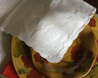 One Lovely White Linen Design Table Napkin-Perfect-Embroidered Shell  Design