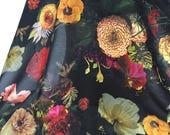 Printed Silk Chiffon, Floral Fabric, Floral Material, Silk Chiffon, Chiffon Fabric, Remnant Material, Flowers Fabric, Black Silk Chiffon