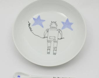 Porcelain plate little robot with customizable spoon