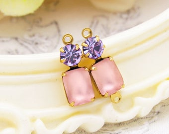 Vintage Matte Pink Octagon & Violet Amethyst Swarovski Rhinestone Set Stone Drop or Connector 16x6mm Choice of Setting Finish - 2