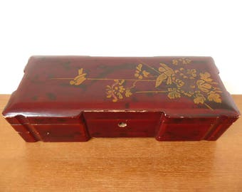 Large hand painted lacquered Asian box with hinged lid
