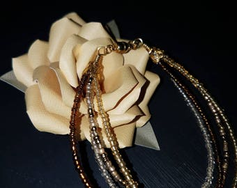 Gold Tone Stacked Seed Bead Bracelet