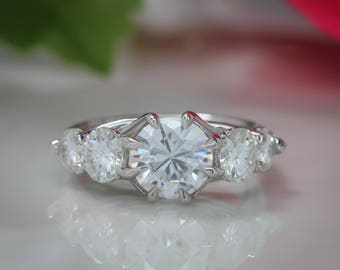 Five Stone Engagement Ring Forever One Moissanite Ring - Anda