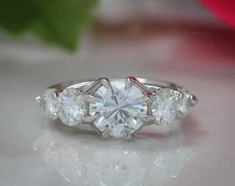 Five Stone Moissanite Engagement Ring