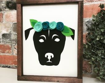 pitbull felt flower crown painted solid wood sign