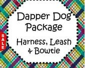 Sale - 50% Off - Traditional or Step-In Harness, 6 FT Leash Package & Bow Tie! Dog Harness Set