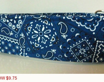 "Sale - 50% Off - Bandana Dog Collar - Navy Bandana Collar - ""Jeremy"" - Free Colored Buckles"