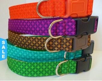 "Sale - 50% Off Tiny Tiles Dog Collar-Orange, Green, Teal, Purple & Brown - ""Tiny Tiles"" - Free Colored Buc"