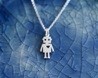 Robot Charm Necklace - Robot Necklace - Silver Robot - Tech Charm - Robot Love - Little Robot - Robot Jewelry -Sterling Silver Robot Charm