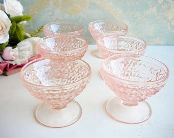Blush Pink Depression Glass Bowls Set Of 6, Jeannette Buttons And Bows/Footed Ice Cream, Sherbert Bowls/Vintage Wedding/Tea Party/Cottage