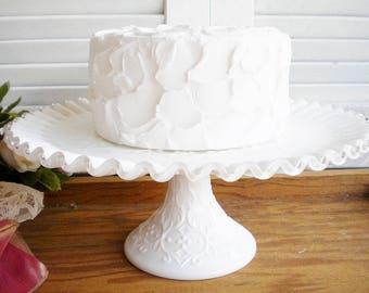 Milk Glass Wedding Cake Stand,Fenton Silvercrest/Vintage 11 inch Cake Stand With Ruffle Edge/Rustic Wedding/Birthday/Cupcake Stand/Gift