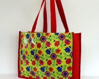 Plastic canvas tote bag yellow raincoat and flowers colorful shopping bag