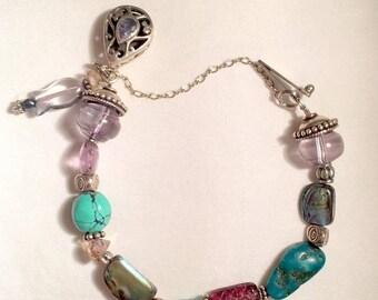"""17% OFF SALE Silver & Gemstone Bracelet/325 Silver Bracelet/7"""" Gemstone Bracelet/Turquoise Abalone Crystals/Safety Chain/Purple  Silver Gree"""