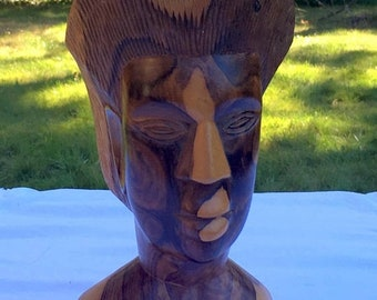 """17% OFF SALE Woman's Head Carving/Carved Wood Head/10"""" Woman's Head/Ethnic Art Woodcarving/Nubian Queen Bust/Carved Woman's Head/African Woo"""