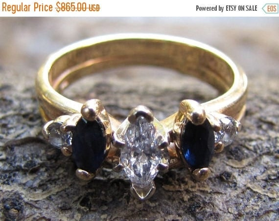 DEADsy LAST GASP SALE Marquise Diamond with Natural Blue Sapphires, Vintage Gold Engagement Ring / Wedding Set - 1940s