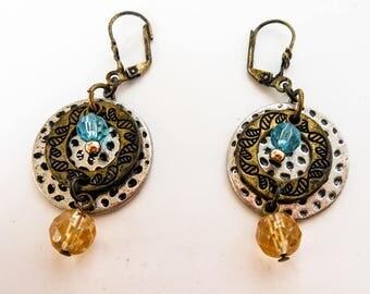 Vintage Pink & Blue Rhinestone Drop Earrings        Brass Leverbacks