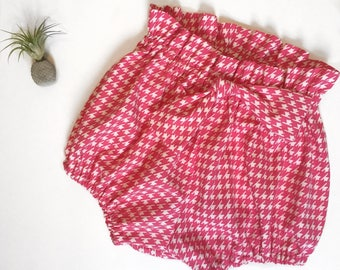 Pink Houndstooth High Waisted Cotton Bloomers Ready to Ship Size 12-18 mo
