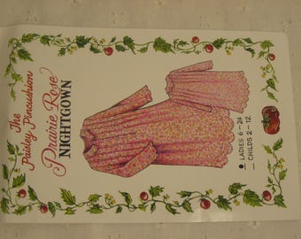 Ladies Prairie Rose Nightgown pattern by The Paisley Pincushion Size 6 to 24, a cut pattern, Tissue pieces plus pattern instructions