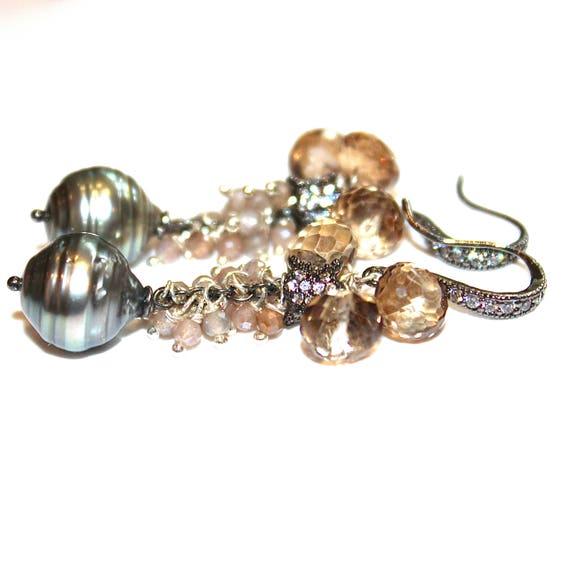 Grey Tahitian Pearl Earring Pearl Bridal Earring Wedding Earring Moonstone Earrings Bridesmaid Tahitian Earring Long Pearl Earring
