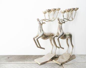 Vintage Silver Candelabra - Deer - Mid Century Modern Decor
