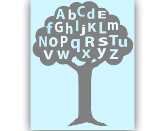 Alphabet Nursery Decor, Tree, Baby Boy Nursery, Blue, Nursery art boy, Alphabet print, Art for nursery, Baby room decor, Boy Nursery decor