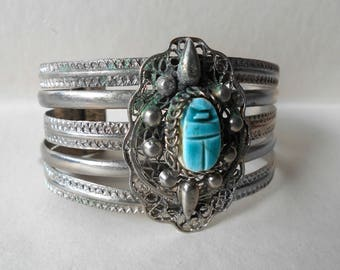 Vintage Wide Cuff Bangle Egyptian Revival Scarab Silver Tone