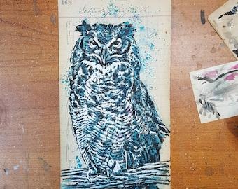 Horned owl on ledger