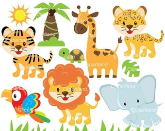 ON SALE INSTANT Download. Can_ 39_animals. Jungle animals clip art. Personal and commercial use.