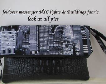 Clutch Bag - NYC Lights & Buildings Fabric - Great Gift Idea - Evening Bag - Handbag Wristlet Bag with Black Leather Like Accent and Strap