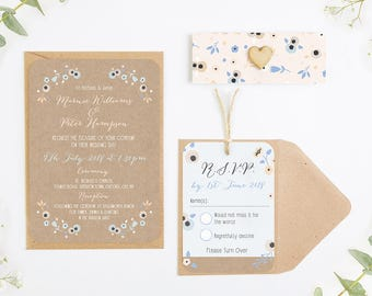Floral Kraft, Peach and Cornflower Blue Wedding Invitation Bundle