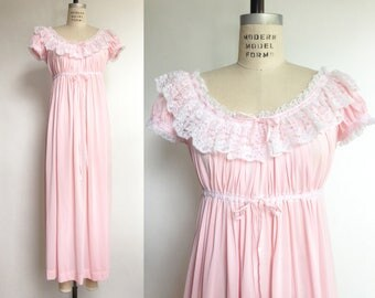 1950s Pink Nightgown White Lace Vintage 50s Lingerie Nylon Empire Waist Gathered Ribbon / Small Medium Large OS