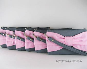 SUPER SALE - Set of 7 Gray with Light Pink  Bow Clutch - Bridal Clutch,Bridesmaid Clutch,Bridesmaid Wristlet,Wedding Gift - Made To Order