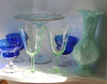 Two (2) Vaseline Green Wine Glasses Water Goblets