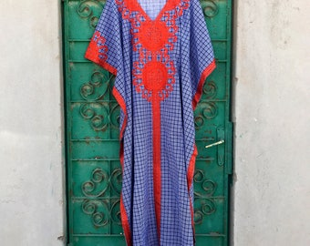 Greek style cotton embroidered kaftan maxi dress