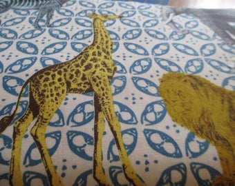 Quilting Weight Cotton Fabric Animal Bazaar by Michael Miller in Turquoise 1 yard