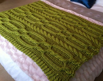 Snuggly Cable Blanket / Throw. ~ Knitting pattern