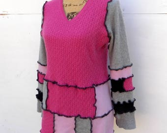 Cashmere Sweater - V Neck Pullover - Refashioned Repurposed Eco Friendly - Grey Black Fuchsia Rose - Pieced Patchwork Clothing - Ladies Wear