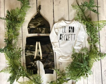 Little Brother Newborn Boy Take Home Outfit / Newborn Boy Coming Home Outfit / Newborn Camo Outfit // Camo Clothing Set // Preemie Clothes B